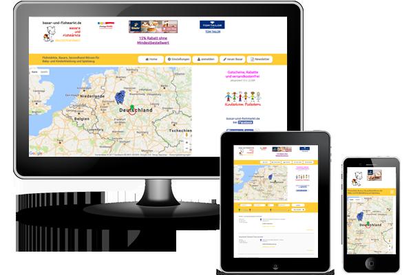 Individuelle Webanwendung - WebAPP - Basare und Flohmärkte deutschlandweit