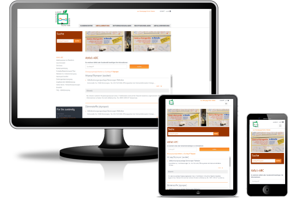 Abfall-ABC - Webanwendung integriert in Webseite vom Kreis Höxter