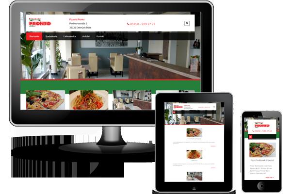 Wordpress Website - Pizzeria Pronto Delbrück-Boke