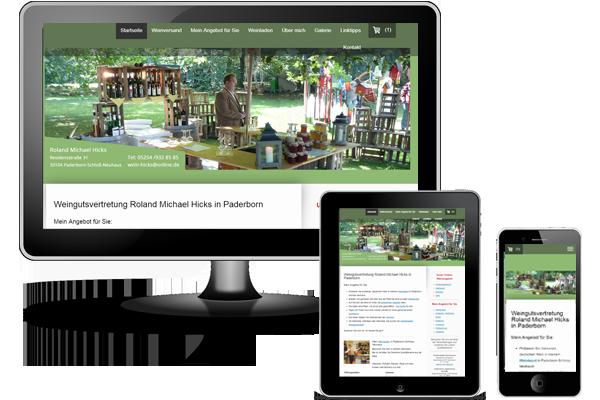 Jimdo Webseite mit Jimdo Shop - Wein Hicks in Paderborn-Schloß Neuhaus