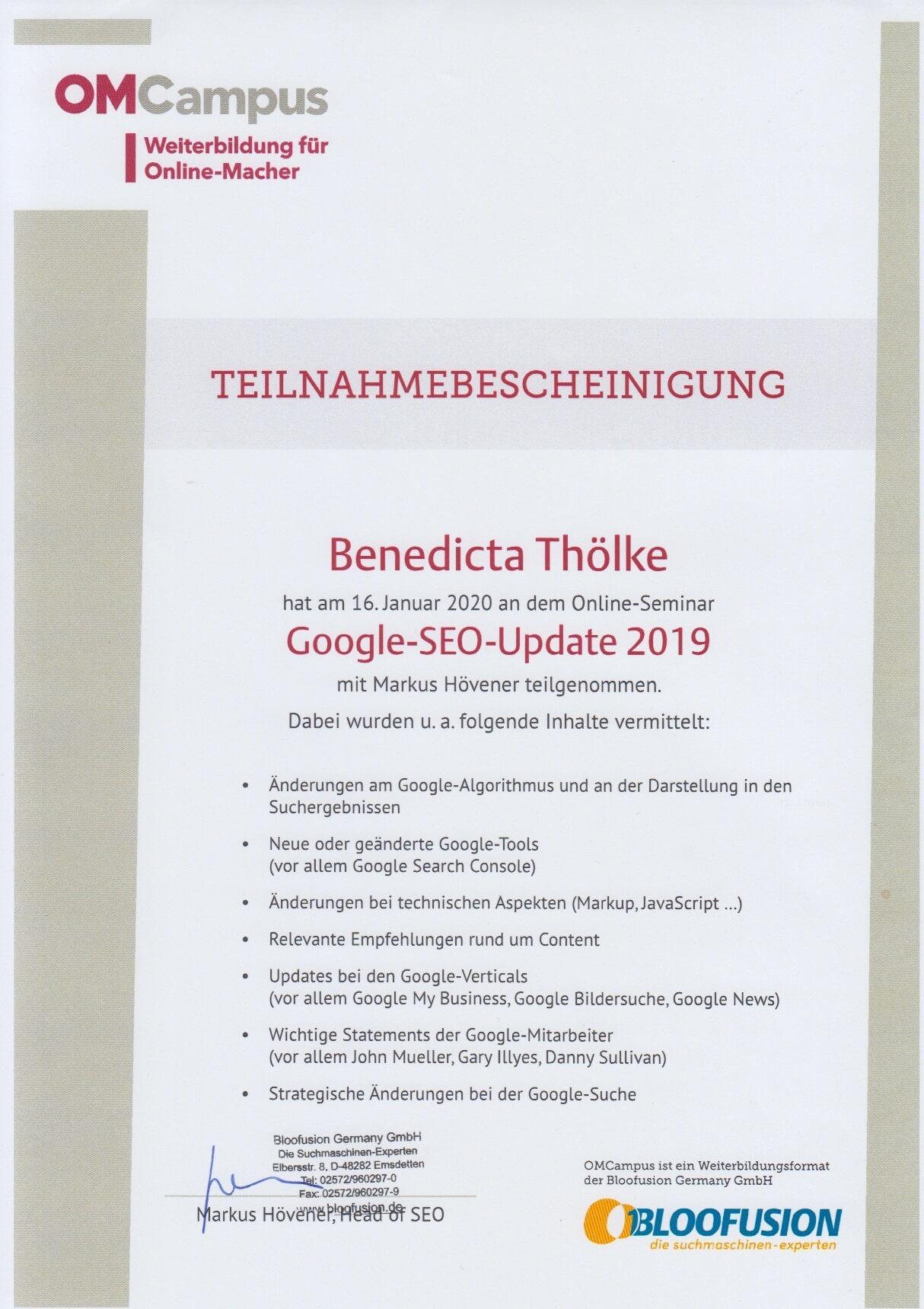 Bloofusion Google SEO Update 2019 - Teilnahmebescheinigung
