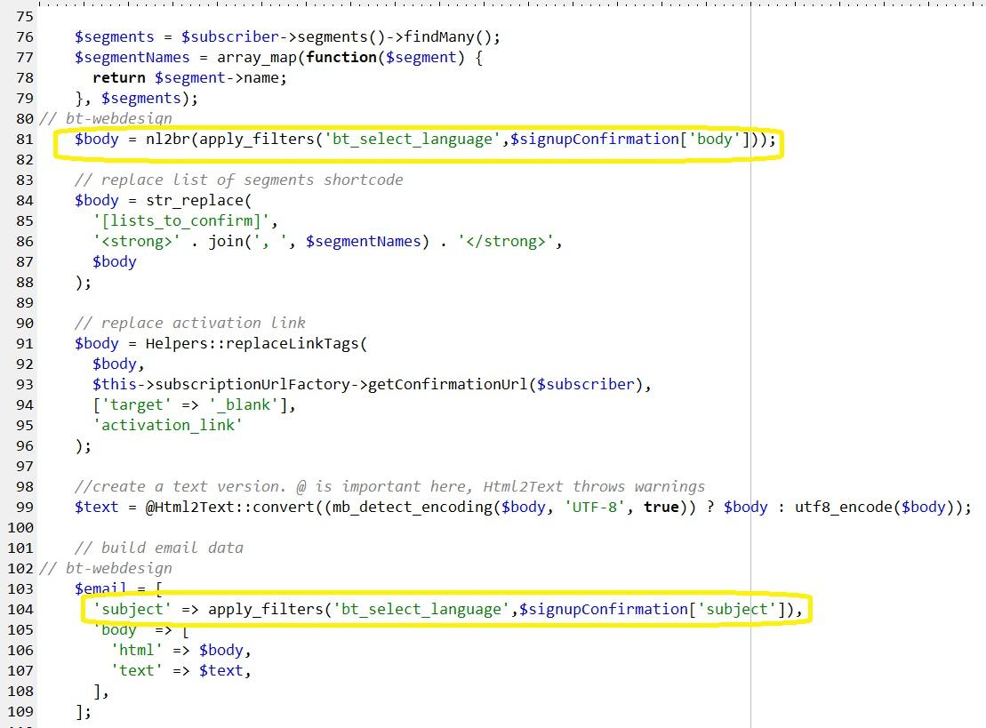 Filter Hooks in MailPoet3 einbauen