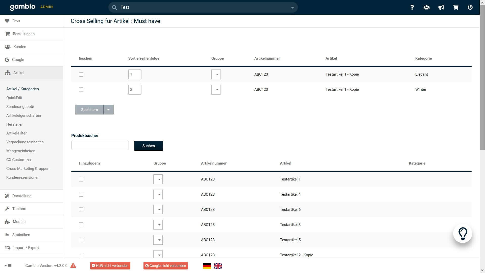 Cross Selling Zuordnung im Gambio Admin
