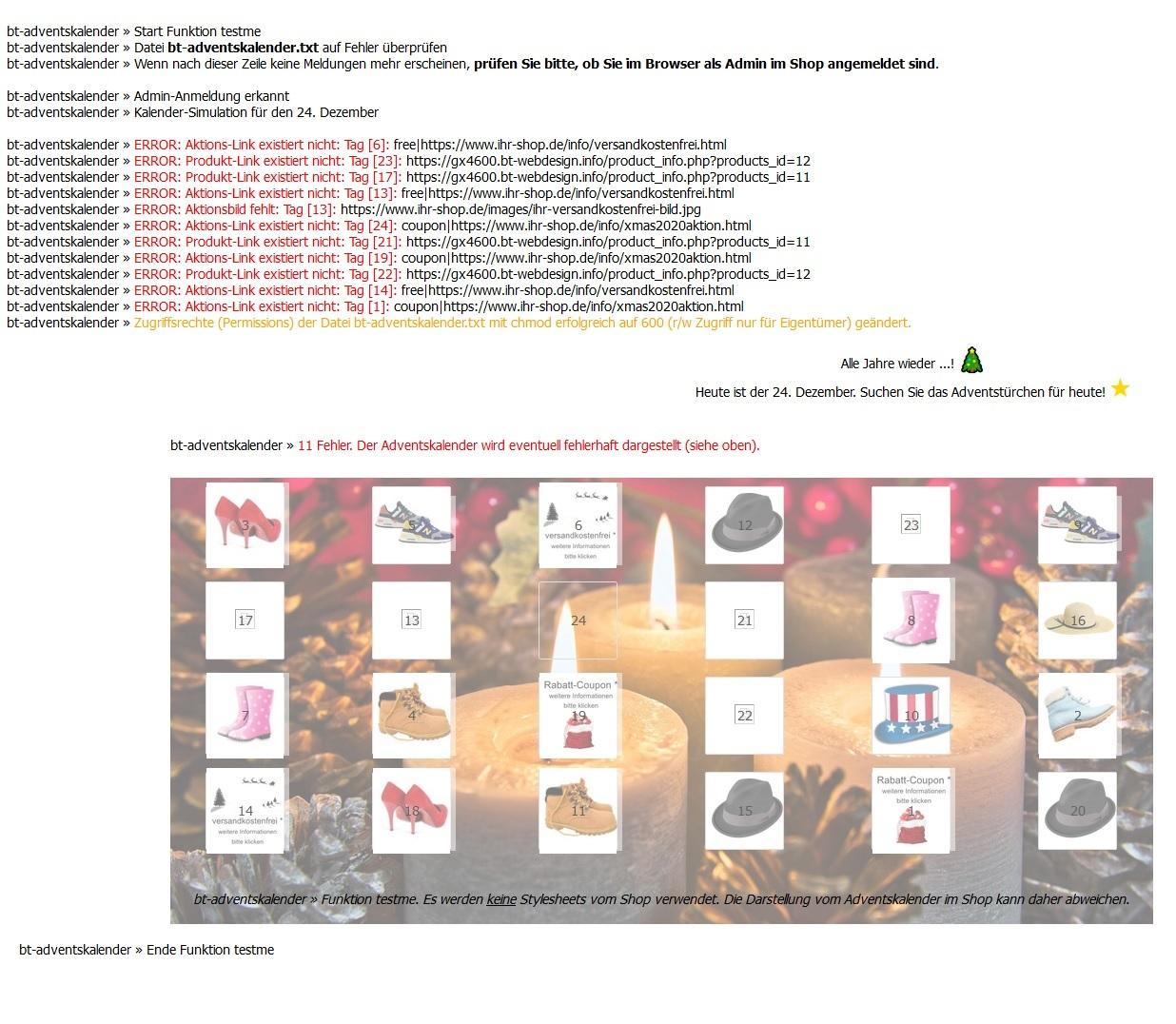 Test, Fehlersuche und Simulation - Funktion testme - Gambio Adventskalender