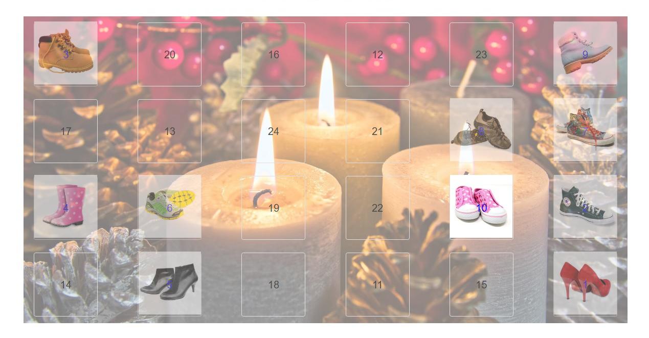 Gambio Adventskalender mit Artikelbildern und Verlinkung zum Produkt im Gambio-Shop