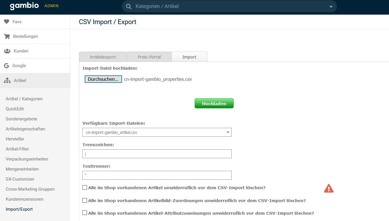 Gambio-Shop Import Artikeleigenschaften aus CSV-Datei
