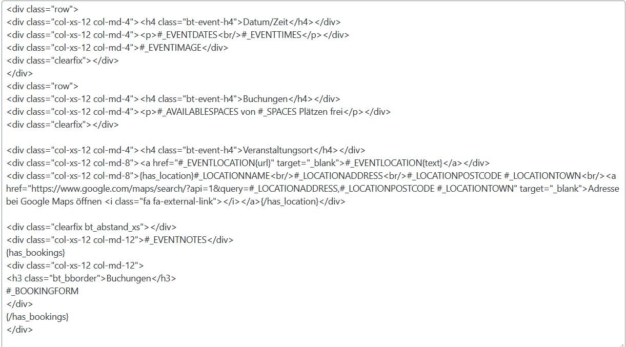 HTML für Veranstaltungsseite - Plugin WP Events Manager