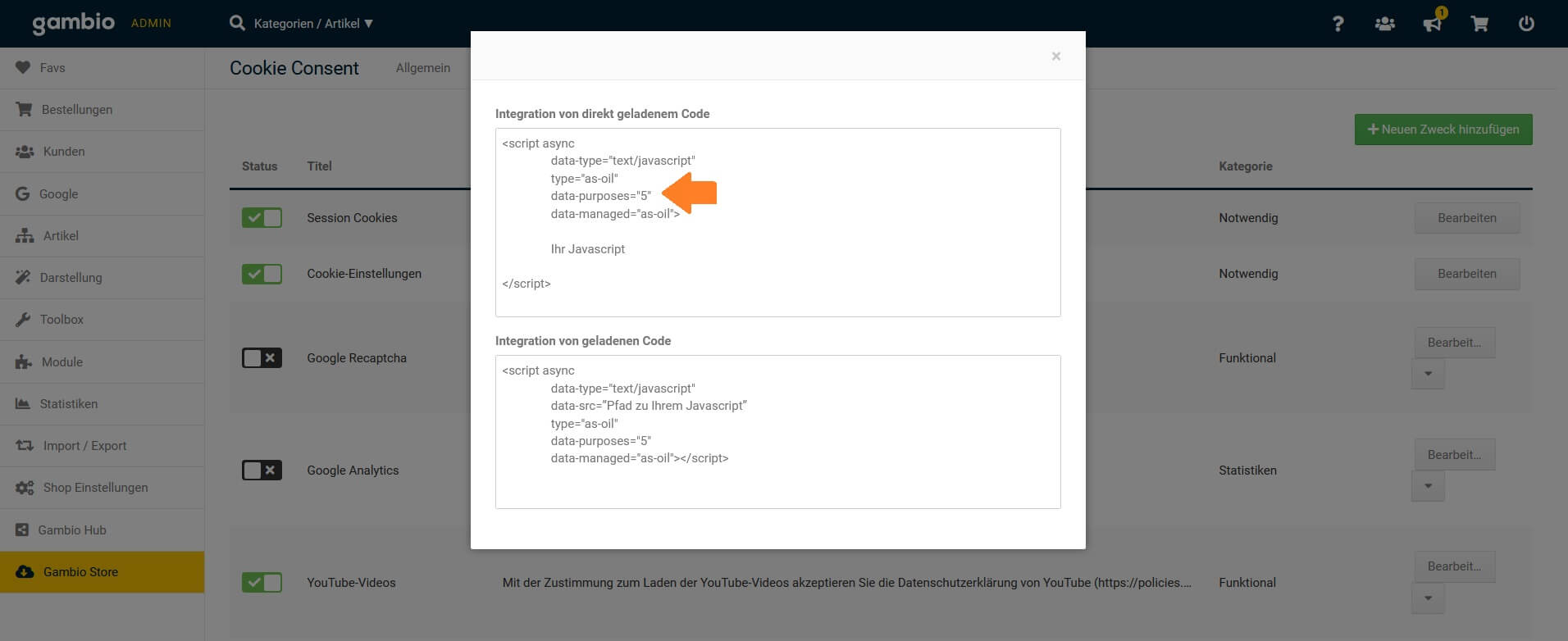 Integration von direkt geladenem Code - Gambio-Consent-Tool