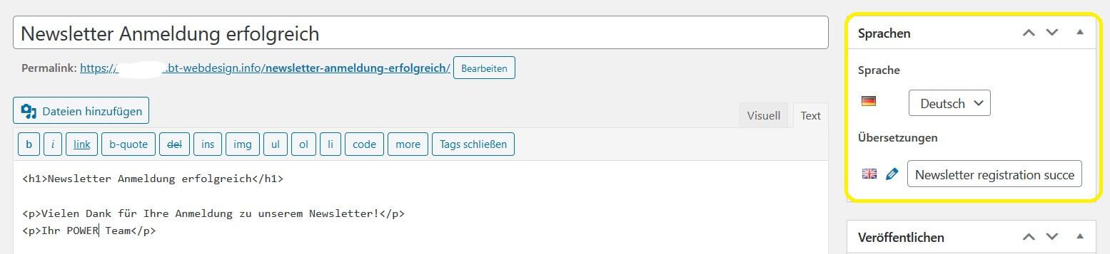 MailPoet Registrierungsbesätigungsseiten für mehrere Sprachen mit Polylang verknüpfen