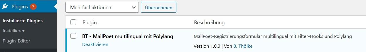 Plugin Installation mit Filter-Hooks für MailPoet multilingual mit Polylang