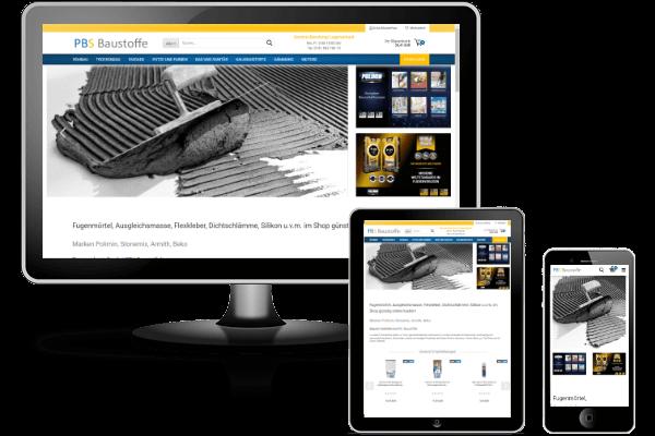 PBS Baustoffe - Gambio-Shop mit Theme Honeygrid und Versandkostenberechnung nach PLZ und Gewicht