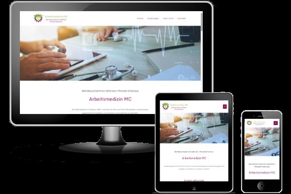 Referenz WordPress Website mit Pagebuilder Elementor, Theme Astra Pro - Arbeitsmedizin MC - Betriebsarzt im Raum OWL