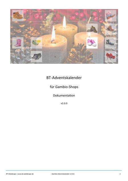 Titelblatt Dokumentation BT-Advenskalender für Gambio-Shops