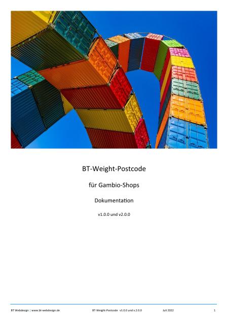 Titelblatt Dokumentation Versandmodul BT-Weight-Postcode für Gambio-Shops