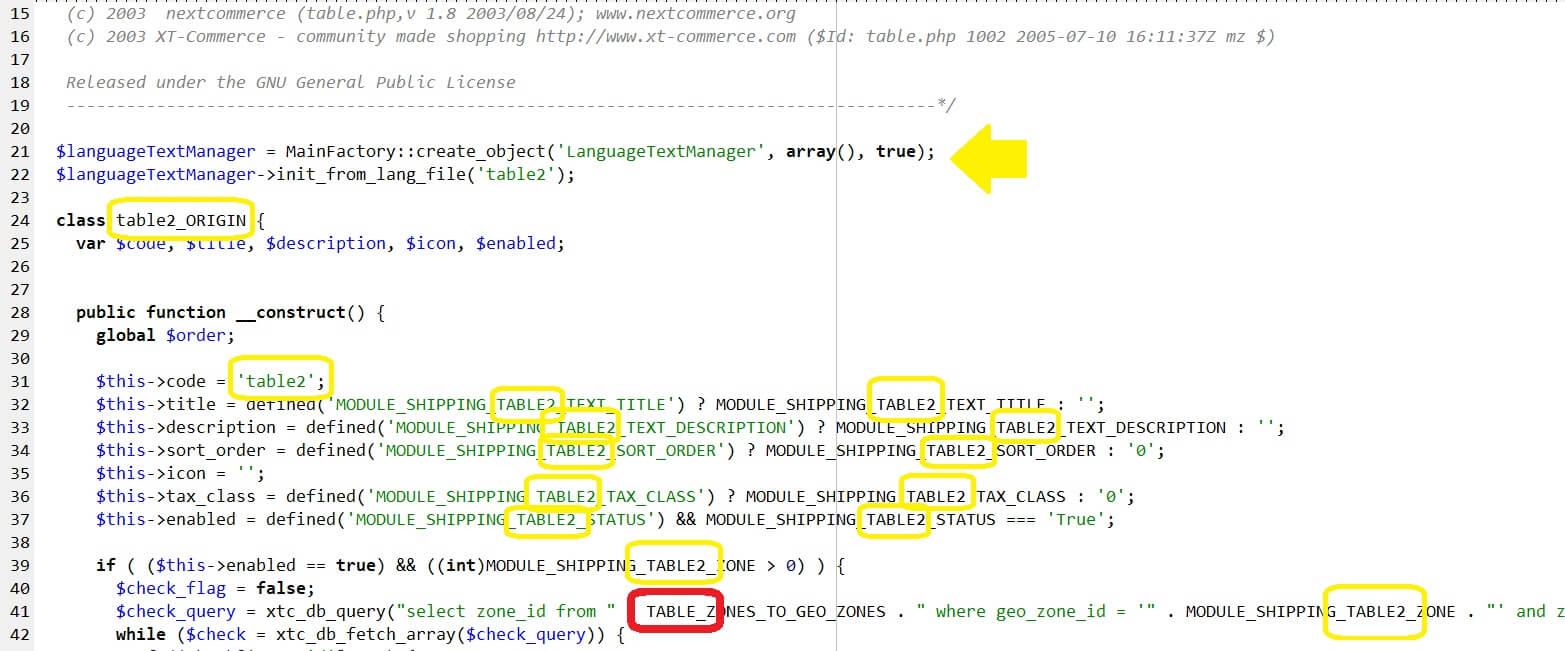 Gambio Versandmodul Table kopieren und anpassen