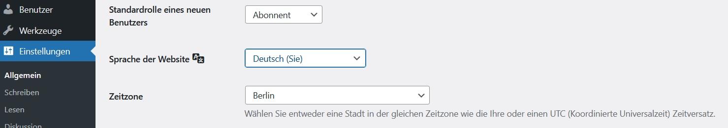Wordpress Website Einstellungen - Sprache der Website - Deutsch (Sie)