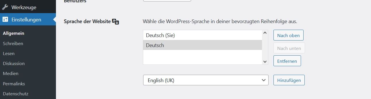 Wordpress Einstellungen - Sprache der Website - Fallback Lösung mit Plugin Preferred Languages