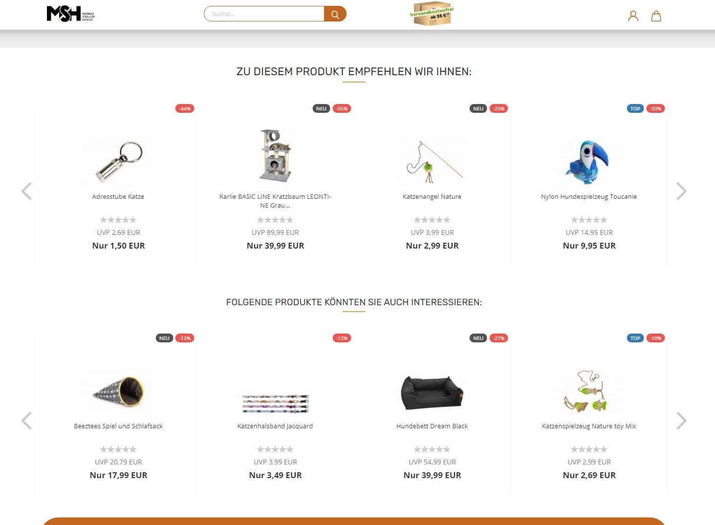 Gambio Shop: Zu diesem Produkt empfehlen wir